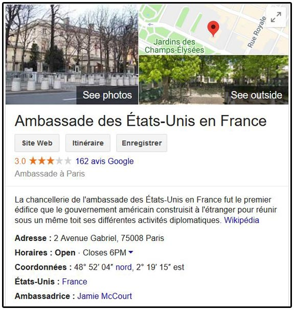 Adresse de l'ambassade américaine à Paris