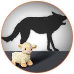 Agneau avec un loup en ombre chinoise