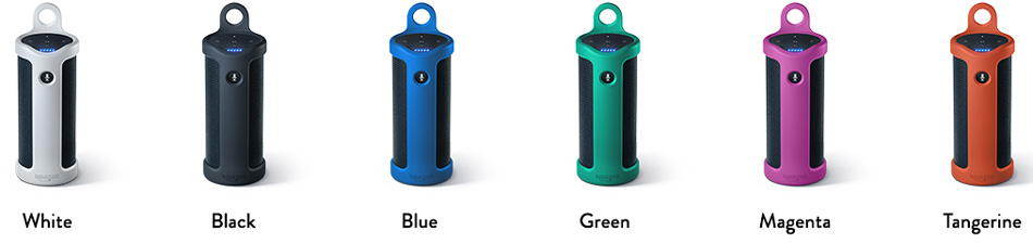 Présentation des 6 couleurs des enceintes portatives Amazon Tap