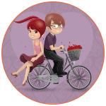 Illustration d'un couple d'amoureux romantiques à bicyclette