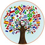 Dessin d'un arbre avec les drapeaux des pays en guise de feuillage
