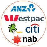 Les logos des 6 principales banques en Australie