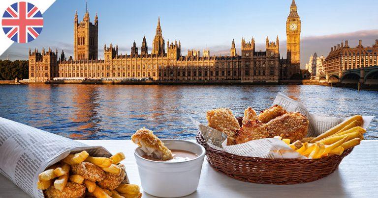 Fish and Chips, spécialité anglaise avec Big Ben en fond