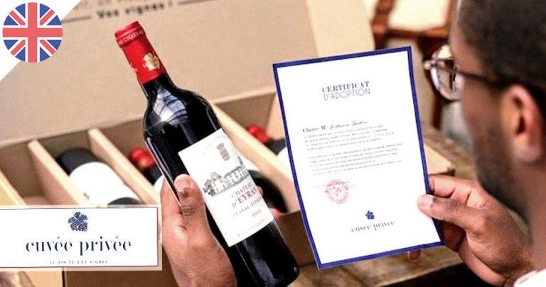 Bouteille de vin et certificat d'adoption par Cuvée Privée