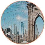 Vue de Manhattan du Brooklyn bridge (USA)