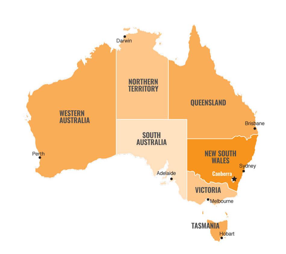 Carte de l'Australie (Made by French Radar)