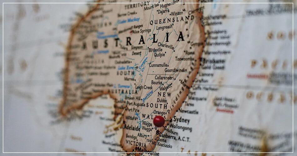Carte de l'Australie avec un point rouge au niveau de Sydney