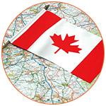 Carte pays avec drapeau canadien posé dessus