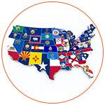 Illustration des 50 Etats des USA avec leurs drapeaux respectifs