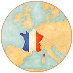 Carte de l'Europe avec la France aux couleurs nationales