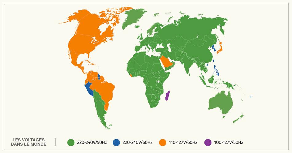 Carte mondiale des différents voltages
