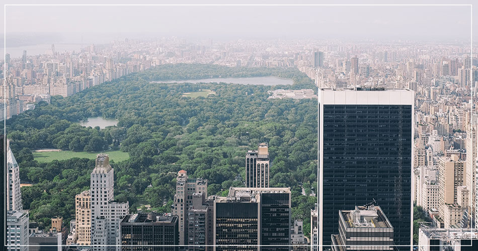 Vue de la fontaine à Central Park de New York City (USA)