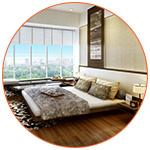 Jolie chambre avec vue au style Feng Shui