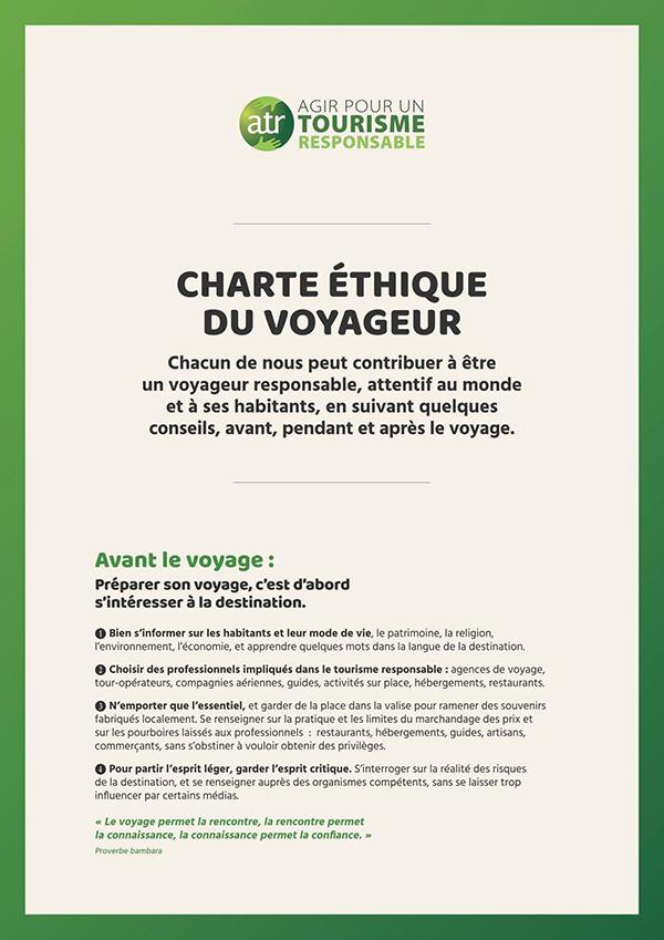 La charte étique du voyageur