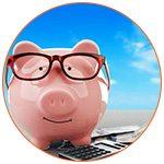 Cochon rose sur une calculatrice avec des lunettes de couleur rouges