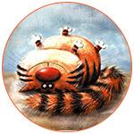 Un dessin d'un gros chat très rigolo couché sur le dos