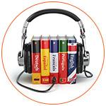 Dictionnaires de langues avec un casque d'écoute
