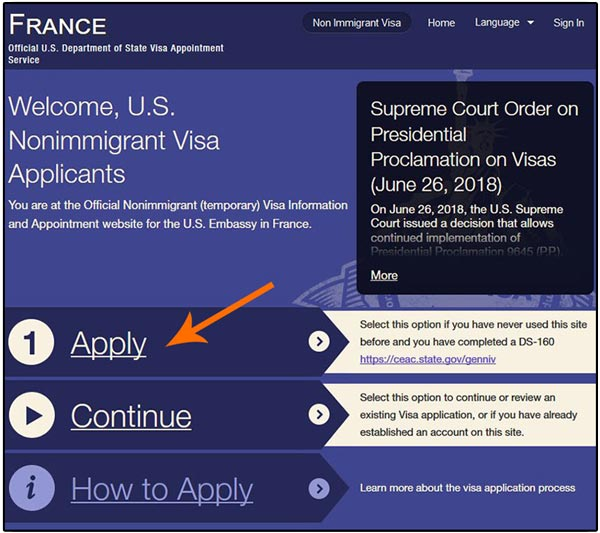 Copie écran formulaire de demande de RDV à l'ambassade