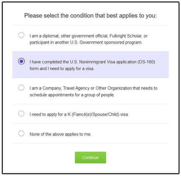 Copie écran formulaire de demande de RDV à l'ambassade américaine, option 2