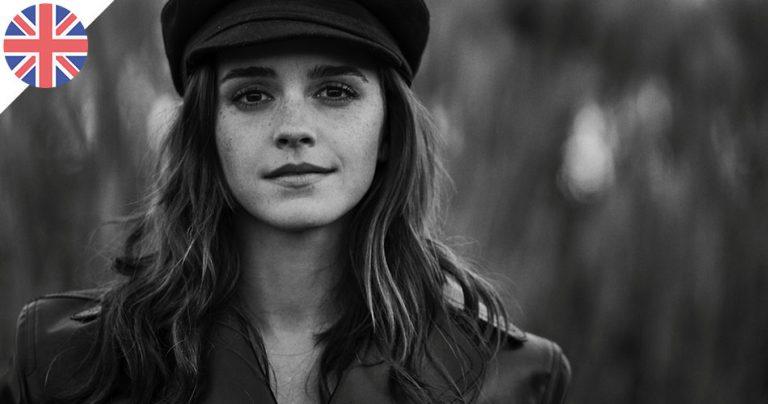 Portrait noir et blanc d'Emma Watson