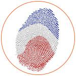 Empreinte digitale aux couleurs du drapeau français