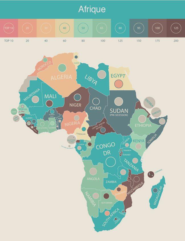 Illustration French Radar de la présence d'étudiants internationaux par pays en Afrique