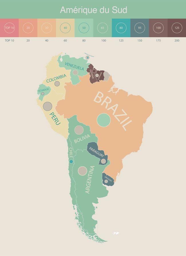 Illustration French Radar de la présence d'étudiants internationaux par pays en Amérique du Sud