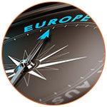 Boussole indiquant la direction de l'Europe