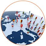 Pays appartenant à l'Europe avec drapeaux respectifs