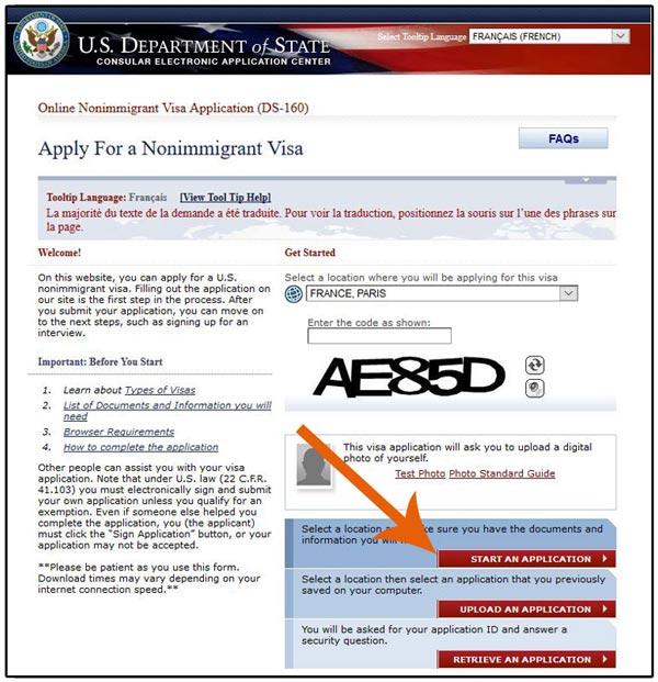 Copie écran d'une demande de formulaire ds160