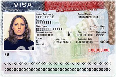 Exemple de visa américain - specimen