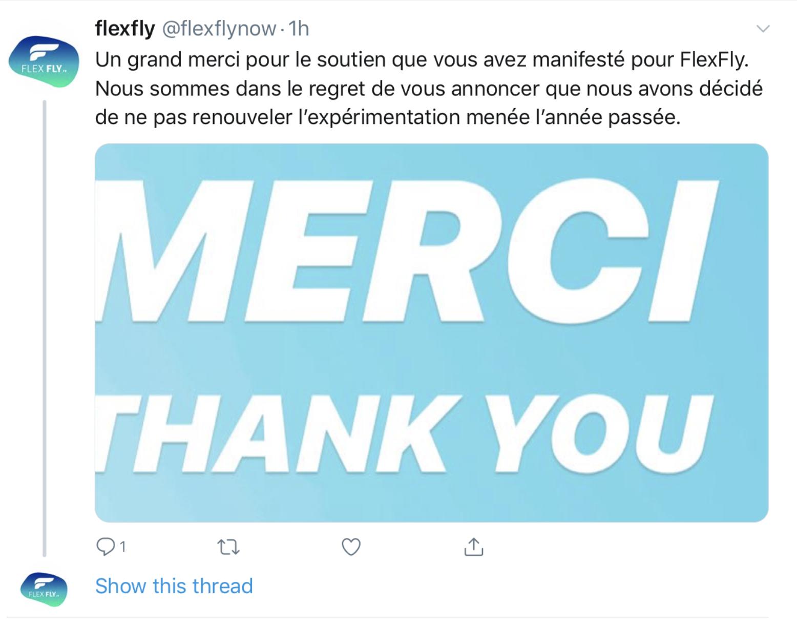 Fermeture du projet Flexfly d'Air France
