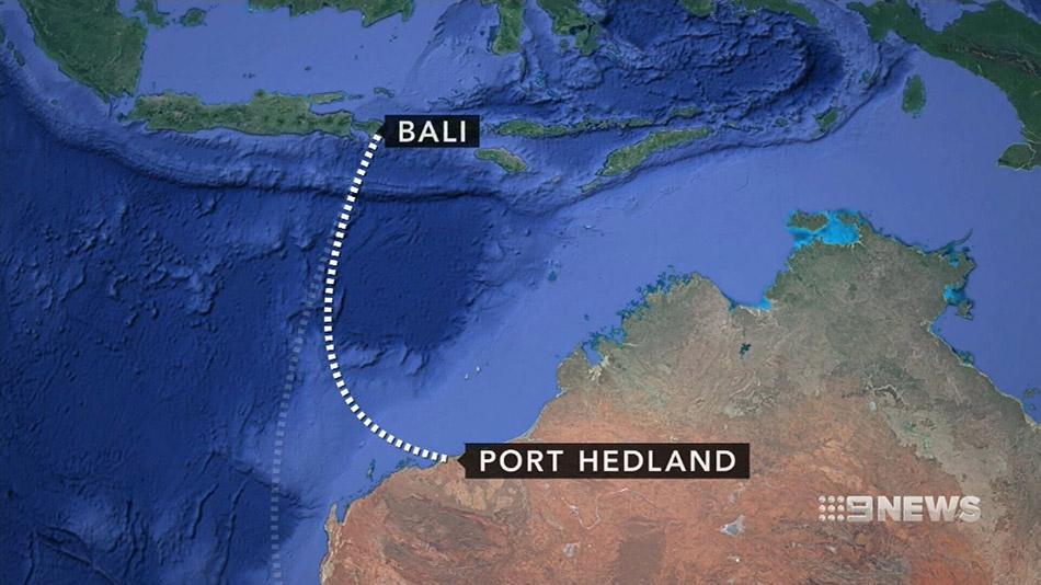 Plan du Vol Bali - Perth via Port Hedland