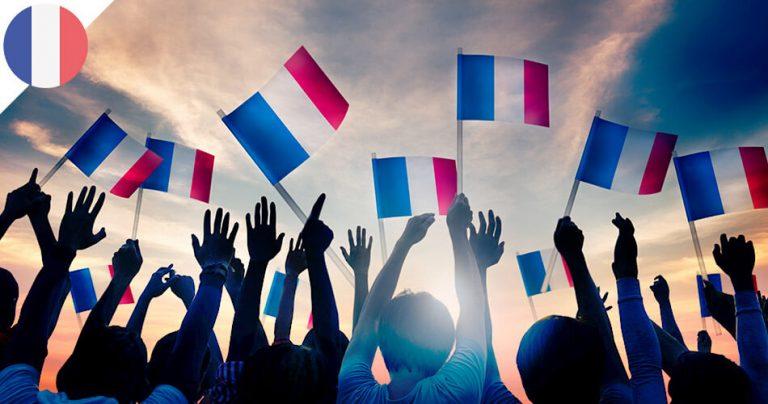 Groupe de français avec leur drapeau national