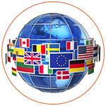 Concept d'un globe terrestre avec les drapeaux des pays autours