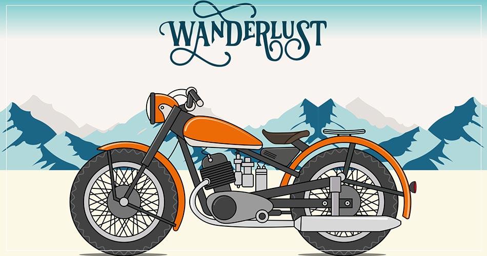 Illustration moto roadtrip usa
