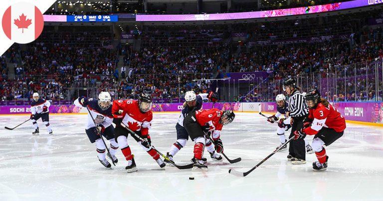 Match hockey sur glace équipe du Canada contre celle des USA