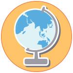 Illustration globe terrestre sur fond orange
