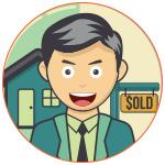 Illustration d'un agent immobilier souriant devant une maison vendue