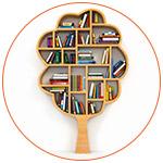Concept illustration moderne d'un arbre avec des livres
