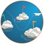 Illustration avion en papier à travers les nuages