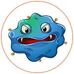 Illustration d'une bactérie bleue
