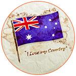 Illustration de la carte australienne avec son drapeau posé dessus.