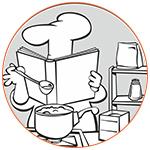 Illustration d'un chef cuisinier dans son libre de recettes