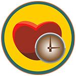 Illustration d'un coeur et d'une horloge sur fond jaune