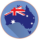 Illustration du continent Australien avec son drapeau