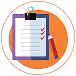 Illustration d'une feuille de test avec stylo sur fond orange