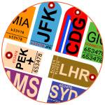 Illustration étiquettes aéroports pour les bagages