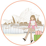 Illustration d'une jeune expatriées sur un banc devant l'opéra de Sydney en Australie