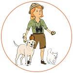 Illustration jeune femme exploratrice avec chien et chat